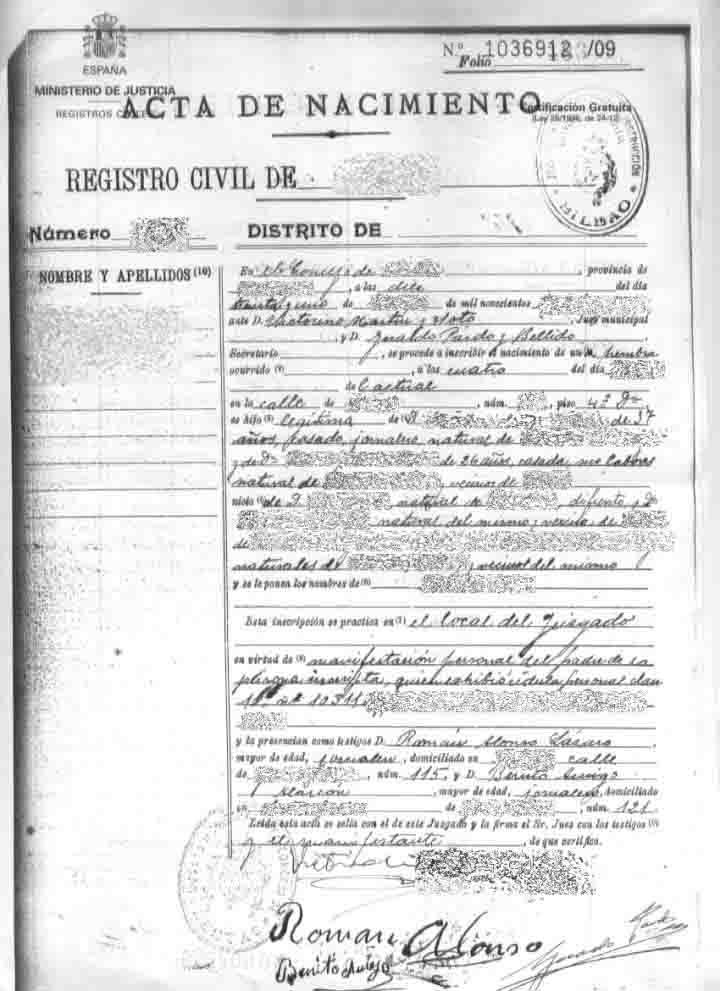 Certificado de Nacimiento en Registro Civil de Granada