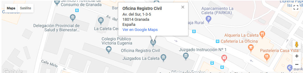 mapa registro civil granada
